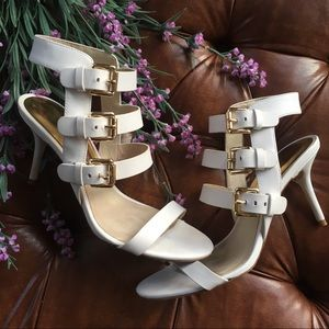 Michael Kors Beverly Open Toe Leather Sandal Heel